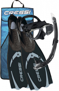 Cressi snorkel set Pluma Bag black (Mask, Snorkel and Fins)
